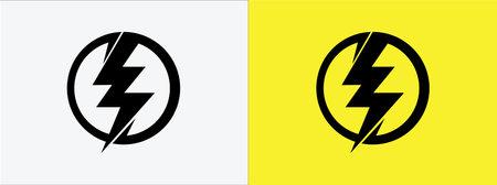 lightning bolt, flash thunderbolt, electric spark and fast superhero symbol vector icon logo design template. 矢量图像