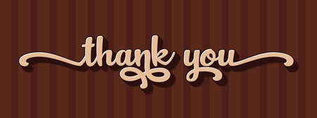 thank you hand lettering design in sweet chocolate theme. thank you calligraphy. thank you text typography letter vector graphic design for greeting card label and web banner.