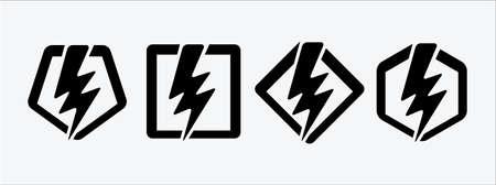 lightning bolt, flash thunderbolt, electric spark and fast superhero symbol vector icon logo design template. assorted inside polygonal and square frame