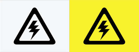electric shock danger sign symbol vector flat icon graphic design. electric spark inside triangle logo template