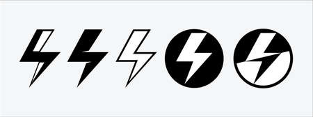 lightning bolt flat vector icon design. Electric spark and electricity power plan symbol vector logo template. Danger electric sign template.