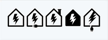 electric power plan house site vector icon design template set. electric power generator house sign. charging or recharge station. 向量圖像