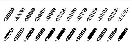 pencil, crayon, pen, vector flat simple  icon illustration. assorted in a line up. black color white background.