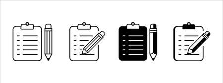 pencil and note pad text writing vector icon  illustration design set. symbol of writing