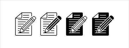 pencil and note text writing vector icon  illustration design set. symbol of writing
