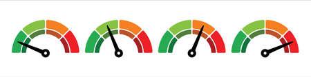 scale four level measurement monitor display. simple level meter. four level step meter measure. vector illustration graphic design set template.