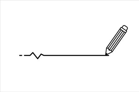 pencil draw a line in horizontal vector illustration. line with a little pulse wave diagram. writing and drawing sign