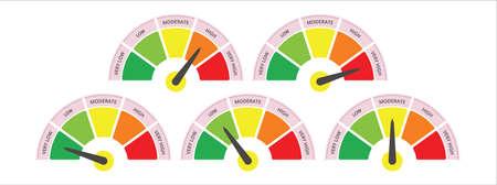 scale level measurement monitor display. level meter. five part level step meter measure. vector illustration graphic design set template.