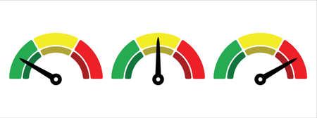 scale level measurement monitor display. simple level meter. three level step meter measure. vector illustration graphic design set template. 矢量图像