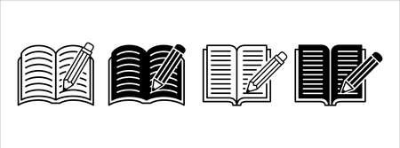 pencil and book text writing vector icon  illustration design set. symbol of writing 矢量图像