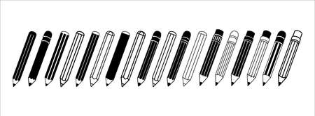 pencil, crayon, pen, vector illustration. assorted in a line up. black color white background.