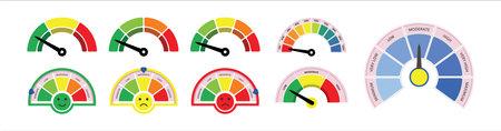 set of scale meter, speedometer, tachometer, level meter gauge vector graphic design.