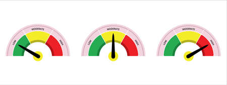 scale level measurement monitor display. low moderate high level meter. three part level step risk meter measure. vector illustration graphic design set template. 矢量图像