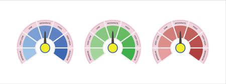 scale level measurement monitor display. seven level meter. level step risk meter measure. vector illustration graphic design set template.