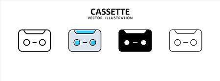 cassette tape deck icon vector illustration simple flat line graphic design 矢量图像