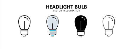 headlamp light bulb vector icon design. car motorcycle spare part replacement service.