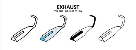 exhaust muffler vector icon design. car motorcycle spare part replacement service.