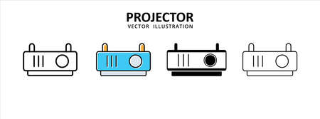 projector screen movie and meeting office ware icon vector illustration simple flat line graphic design
