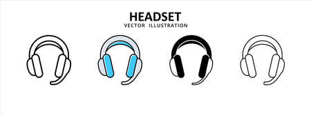 audio headset music and gaming icon vector illustration simple flat line graphic design