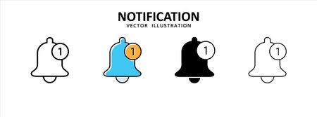 bell ring notification unread icon vector illustration simple flat design