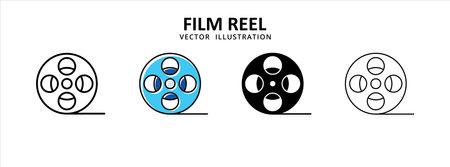 cinema film movie roll reel icon vector illustration simple flat line graphic design 矢量图像