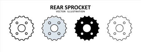 rear chain wheel gear sprocket vector icon design. car motorcycle spare part replacement service.