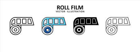 film roll negative film photography icon vector illustration simple flat line graphic design 矢量图像