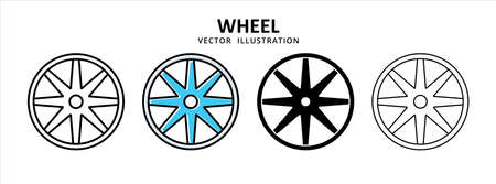 racing wheel tire vector icon design. car motorcycle spare part replacement service. 矢量图像