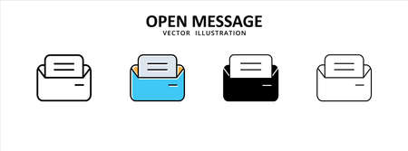 opened inbox, mail, email, envelope, message icon vector illustration simple flat design