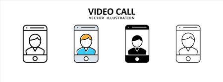 Social media men or male video call icon vector illustration simple flat design. social media meeting video call