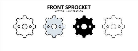 front gear sprocket vector icon design. car motorcycle spare part replacement service.