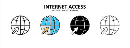 globe and cursor point icon vector illustration simple flat design. symbol of website internet network