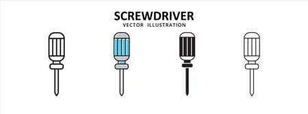 screwdriver hand tool vector icon design. car motorcycle spare part replacement service.