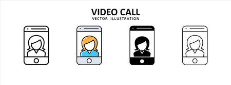 women girl video call icon vector illustration simple flat design. social media meeting video call 矢量图像