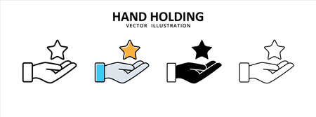hand presenting a star icon vector illustration simple flat design. giving a rating symbol sign 矢量图像