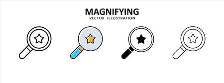 magnifying glass search favorite star icon vector illustration simple flat design 矢量图像