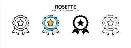 rosette medal coin appreciation icon vector illustration simple flat design. symbol of honor and verified account