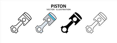 piston four stroke motor engine vector icon design. car motorcycle spare part replacement service.