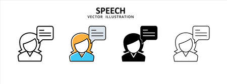customer service talk help center icon vector illustration simple flat design. women person and talk bubble chat symbol 矢量图像
