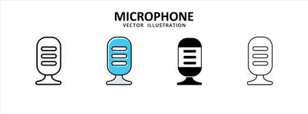 microphone old vintage retro podcast icon vector illustration simple flat line graphic design 矢量图像