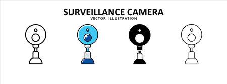 surveillance survey camera video spy recording icon vector illustration simple flat line graphic design 矢量图像