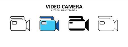 professional camera movie video recorder device icon vector illustration simple flat line graphic design