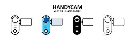 handy camera video recorder icon vector illustration simple flat line graphic design