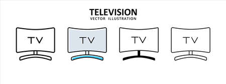 flat curve television monitor icon vector illustration simple flat line graphic design