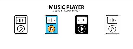 multimedia music video player portable icon vector illustration simple flat line graphic design 矢量图像