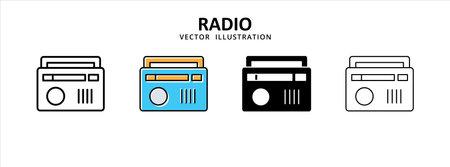 radio old vintage retro music broadcast icon vector illustration simple flat line graphic design