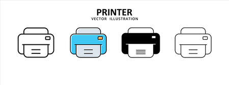 printer home and office work ware icon vector illustration simple flat line graphic design
