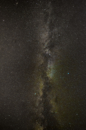 galactic center: The Milky Way over head, showing the summer traingle. Stock Photo