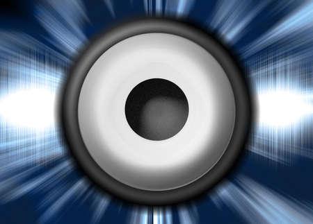 Illustration of a Speaker in front of Soundwaves Stock Illustration - 312925
