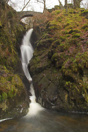 Aira Force Waterfall in the Lake District, Cumbria, England.